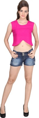 Western Route Casual Sleeveless Solid Women's Pink Top