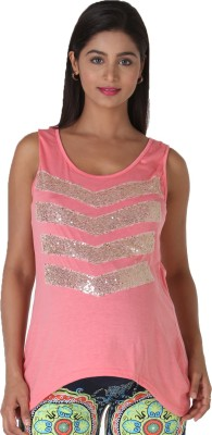 Morph Maternity Casual Sleeveless Solid Women's Pink Top