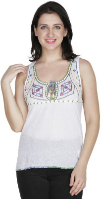Old Tailor Casual Sleeveless Embroidered Women's White Top