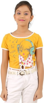 Menthol Casual Short Sleeve Solid, Printed Girl's Yellow Top
