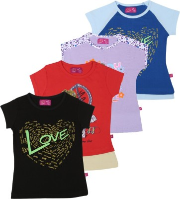 Spn Garments Casual Short Sleeve Printed Girl,s Black, Red, Purple, Dark Blue Top