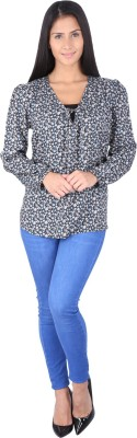 Fashionwardrobe Casual Full Sleeve Printed Women,s Black Top