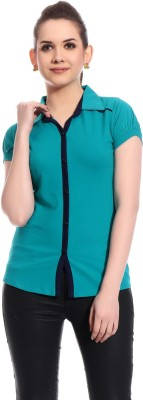 Rose Taylor Casual Short Sleeve Solid Women's Blue Top