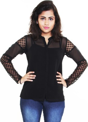 Aggana Casual Full Sleeve Solid Women's Black Top