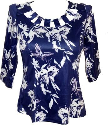 Forever 18 Casual 3/4 Sleeve Printed Women's Dark Blue Top
