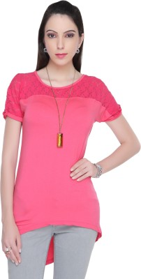 Bedazzle Casual Short Sleeve Solid Women's Pink Top