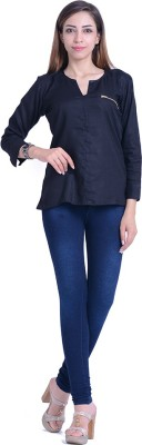 InBlue Fashions Casual Full Sleeve Solid Women's Black Top