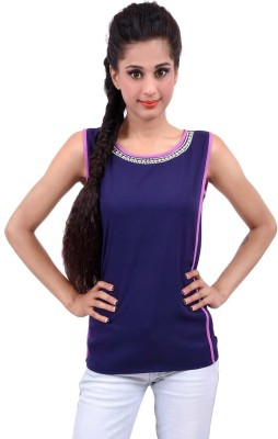 Palette Casual Sleeveless Embroidered Women's Dark Blue Top