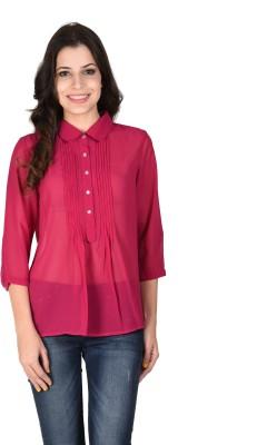 Latin Quarters Formal 3/4 Sleeve Solid Women's Purple Top