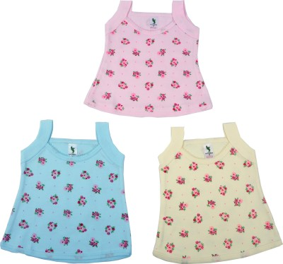 Cucumber Casual Sleeveless Printed, Self Design Baby Girl's Pink, Blue, Yellow Top