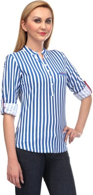 Rockland Life Casual Full Sleeve Striped Women's Blue, White Top
