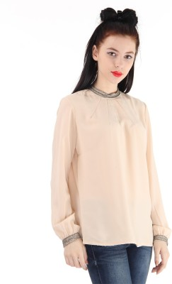 Pepe Jeans Casual Full Sleeve Solid Women's Pink Top