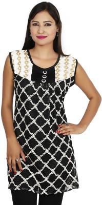 Sringar Casual Sleeveless Printed Women's Black Top