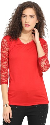 Northern Lights Casual 3/4 Sleeve Solid Women's Red Top