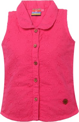 VITAMINS Casual Sleeveless Solid Baby Girl's Pink Top