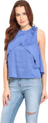 Blue Sequin Casual Sleeveless Solid Women's Blue Top