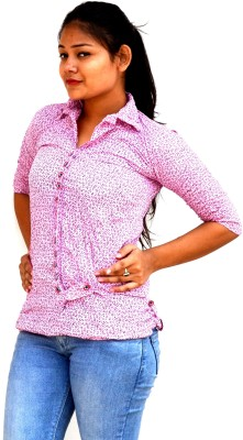Aarti Collections Casual, Festive, Party 3/4 Sleeve Self Design Women's Pink Top
