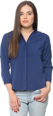 Vvoguish Women,s Solid Casual Reversible Blue Shirt