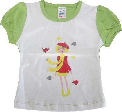 Magic Train Casual Puff Sleeve Graphic Print Girl's White, Green Top