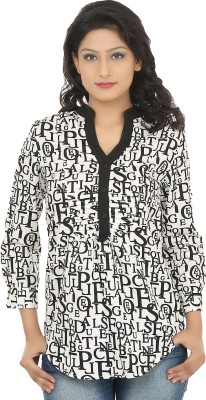 Adhaans Casual Roll-up Sleeve Printed Women's Black, White Top