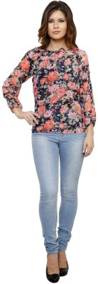 Thousand Shades Casual Full Sleeve Printed Women's Blue Top