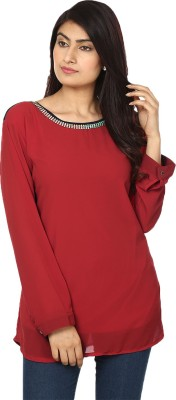 Passion Casual Full Sleeve Solid Women's Red Top