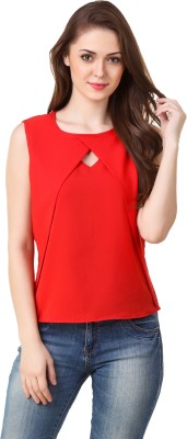 Big Pout Casual Sleeveless Solid Women's Red Top