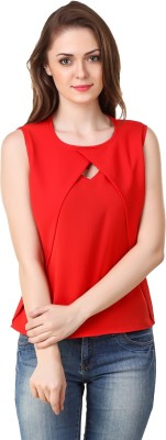 BrandMeUp Party Sleeveless Solid Women's Red Top