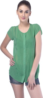 Trendy Divva Casual Short Sleeve Self Design Women's Green Top at flipkart