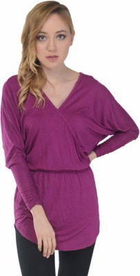 Trend Notes Casual Full Sleeve Solid Women's Purple Top