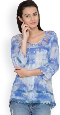 Citypret Casual 3/4 Sleeve Embellished Women's Blue Top