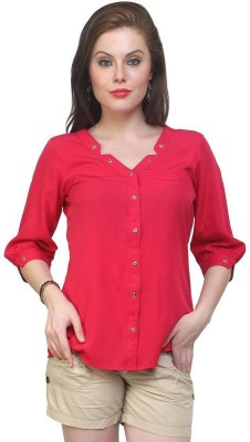 Indicot Casual 3/4 Sleeve Solid Women's Red Top