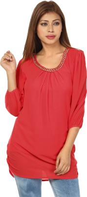 Passion Casual 3/4 Sleeve Solid Women's Pink Top
