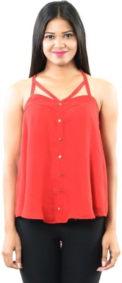 RovingMode Casual Sleeveless Solid Women's Red Top