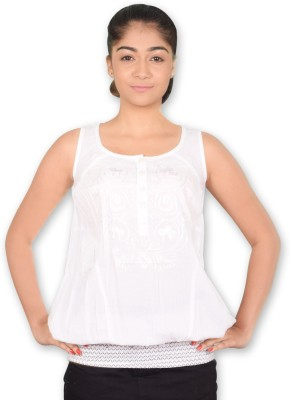 Riot Jeans Casual Sleeveless Solid Women's White Top