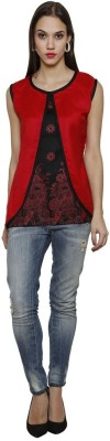 Sea Lion Casual Sleeveless Printed Women's Red, Black Top
