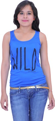 Krazzy Collection Casual Sleeveless Solid Women,s Blue Top