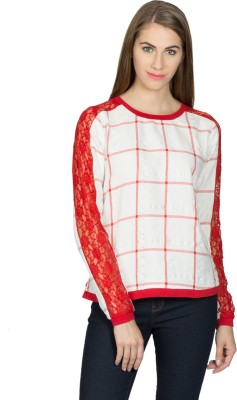Miss Chick Casual Full Sleeve Checkered Women's Red Top