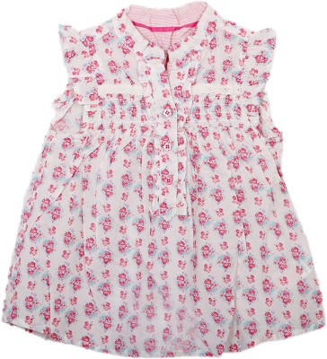Kemrich Casual Sleeveless Floral Print Baby Girl's White Top