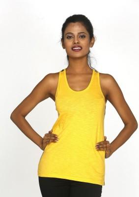 Canoe Casual, Beach Wear Sleeveless Solid, Applique Women's Yellow Top