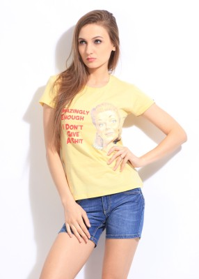 Comedy Central Casual Short Sleeve Printed Women's Yellow Top
