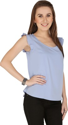 The Apparel Quotient Casual, Party Sleeveless Solid Women's Blue Top