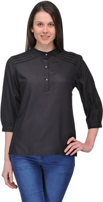 Dammifit Casual 3/4 Sleeve Solid Women's Black Top