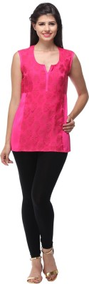 Pehraan Casual Sleeveless Printed Women's Pink Top
