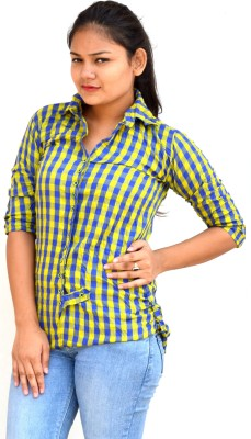 Aarti Collections Casual, Festive, Party 3/4 Sleeve Self Design Women's Yellow, Blue Top
