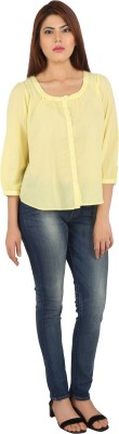 pinklady Formal, Casual, Sports, Festive 3/4 Sleeve Solid Women's Yellow Top