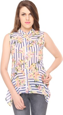 Lemon Chillo Casual Sleeveless Floral Print Women's Multicolor Top