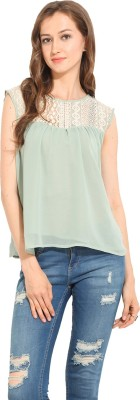 Albely Casual Sleeveless Solid Women's White, Green Top