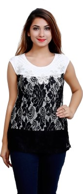 Blinkin Casual Sleeveless Woven Women's Black Top