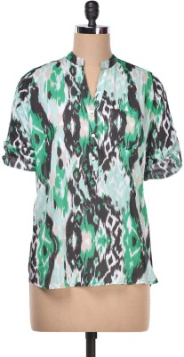 AVIDDIVA Casual Roll-up Sleeve Printed Women,s Green Top